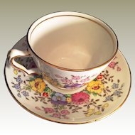 Hand Decorated Crown Staffordshire #15465  England Bone china Cup & Saucer Floral pattern