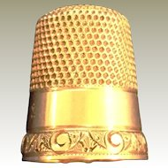 14Kt yellow gold sewing thimble engraved