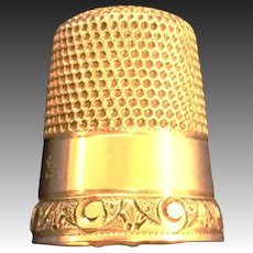14Kt yellow gold sewing thimble fancy border