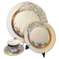 Herend Hungary 4 piece set Romance Rete floral and openwork China