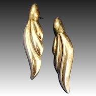 Pair of Sterling leaf shape pierced earrings signed N.D.