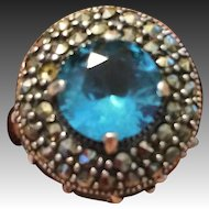 Vintage 925  Sterling Silver Marcasite and blue Topaz ring size 6