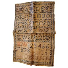 Antique abc 123 hand embroidered sampler