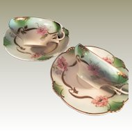 1 Hand decorated Bavarian porcelain Cups and Saucers  floral pattern