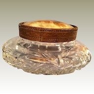 ABP Cut Glass Puff Powder box swirling Hobstar cut and Butterfly encased lid