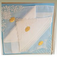 3 Swiss linen and Lace Wedding Hankies in original box