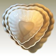 Irish Belleek Heart Shaped Nesting Candy Nut Bowls