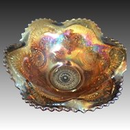 Imperial Carnival glass Marigold sauce Bowl TWINS pattern