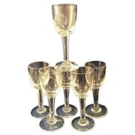"6 Sasaki Wheat Crystal 3 7/8"" cordial glasses"