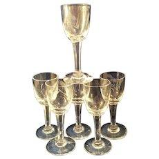 "6 Sasaki Wheat Crystal 3 7/8"" cordial glasses"
