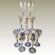 10 Crystal Sherry glasses with pretty Leaf cutting