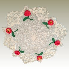 large White hand crochet cotton Doilie rose pink flowers