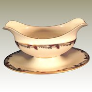 Lenox China Essex Maroon gravy bowl with attached underplate