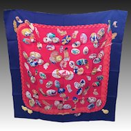 Hermes Silk Scarf  couvee d'hermes egg print Navy and Red MIB