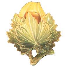 1950s Mc Coy pottery Leaf shape wall pocket Green & Yellow