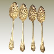4   Walker & Hall 1890's English Birmingham Silverplate Fruit Spoons