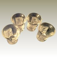 4 Lalique Crystal Enfants pattern liquor shot glasses