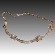 Alluring Marcel Boucher Original Rhinestone Choker Necklace Baguette and Round stones  Original box