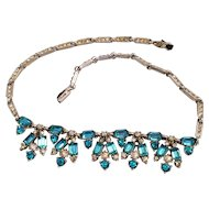 Sparkling Marcel Boucher Originals Aqua and Clear Rhinestone choker necklace