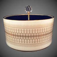 Hutschenreuther Bavaria porcelain covered Dresser Candy box cobalt lid Gold design