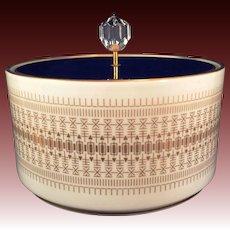 Hutschenreuther Bavaria porcelain covered Dresser Candy box cobalt lid Gold design