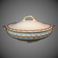 Haviland Limoges GDA covered vegetable dish server bowl floral trellis design