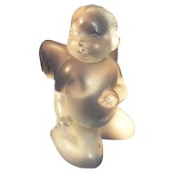 Lalique France frosted Crystal baby Angel figure paperweight