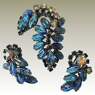 Unsigned Beauty Jewelry Pin and Earring Iridescent Blue leaves,
