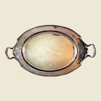 Wilcox International silverplate oval 2 handle tray Lady Mary pattern
