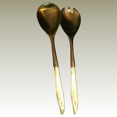 MCM Oneida YOUNG LOVE Sterling Silver and black lucite Salad  Fork & Spoon