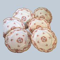 6 A K Limoges porcelain Dessert plates Pink & Purple flowers