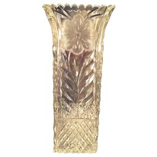Sparkly unsigned Cut Glass Square vase with flower