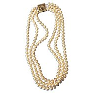 Triple strand Cultured Pearl necklace Sterling clasp