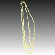 2 strand Graduated Cultured Pearl Necklace 14k wg clasp