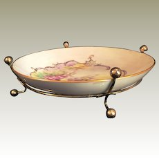 Artist painted Porcelain Candy bowl floral in metal holder