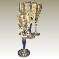 4 Ceska Regency Crystal Champagne Flutes