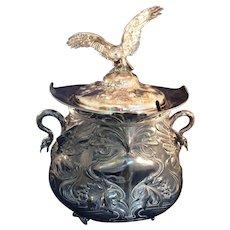 Large vintage  Silver Lidded Punch Bowl, tureen Flying Bird finial