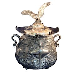 Large vintage  Silver plate Lidded Punch Bowl, tureen Flying Bird finial