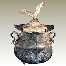 VintageLarge Silver plate Lidded Punch Bowl, tureen Flying Bird finial