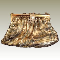Vintage Whiting and Davish gold mesh purse Rhinestone Clasp