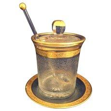 Heisey Glass Yeoman Marmalade or jam jar Glacier Etch