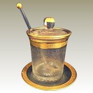 Heisey GlassYeoman Marmalade or jam jar Glacier Etch