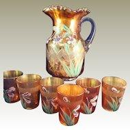 Fenton Marigold Carnival Enameled Columbine Zig Zag pitcher and 6 glasses