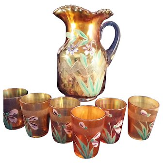 Fenton Marigold Carnival Enameled Columbine Zig Zag pitcher and 6 glasses