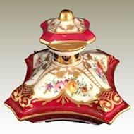 Limoges Porcelain handpainted Pillow Perfume Bottle for Bullocks Pasadena