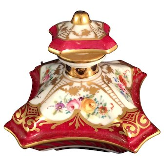 Limoges Porcelain handpainted Pillow Perfume Bottle for Bullocks Pasadena