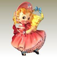 Lefton 1956 Dainty Miss Wall Pocket 50264 Pink Dress