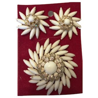 1950s Judy Lee Demi Parure  Milk Glass brooch and clip earrings with iridescent rhinestones