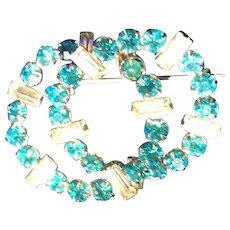 Aqua and clear Rhinestone double Ring pin Broach
