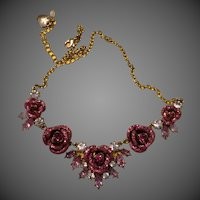 Betsey Johnson Goldtone Glitter Rose frontal necklace